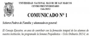 SEMANA PROPEDEUTICA - CICLO ORDINARIO 2015-I
