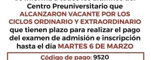 COMUNICADO PLAZO DE PAGO: EXAMEN DE ADMISION E INSCRIPCION