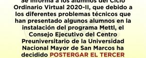 CICLO ORDINARIO 2020-II - POSTERGACIÓN DE TERCER EXAMEN