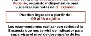 SEGUNDA ENCUESTA DE RENDIMIENTO DOCENTE - CICLO ESPECIAL 2018-I