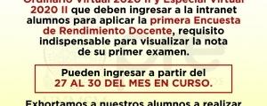 CICLOS ORDINARIO 2020-II Y ESPECIAL  2020-II - PRIMERA ENCUESTA DE RENDIMIENTO DOCENTE