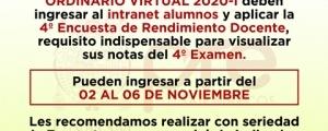 CICLO ORDINARIO 2020-I - CUARTA ENCUESTA DE RENDIMIENTO DOCENTE