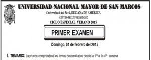 CICLO ESPECIAL VERANO 2015 - TEMARIO PRIMER EXAMEN