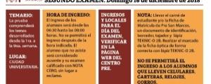 SEGUNDO EXAMEN CICLO ORDINARIO 2018-II - TEMARIO, FECHA Y HORA ENTRADA